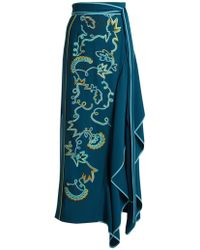 Peter Pilotto - Embroidered Asymmetric Crepe Cady Skirt - Lyst