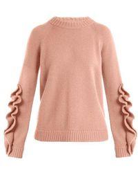 RED Valentino - Ruffle-trim Wool Sweater - Lyst