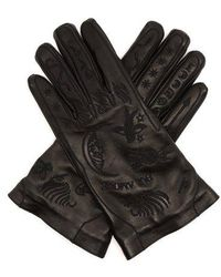 Gucci - Palmistry Embroidered Leather Gloves - Lyst