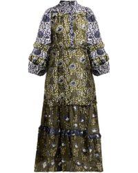 Apiece Apart - Gracia Flamenca Dress In Basil Sombras Floral - Lyst
