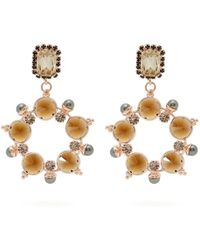 Erdem - Crystal And Faux-pearl Hoop-drop Earrings - Lyst