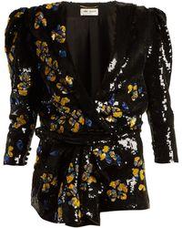 Saint Laurent - Floral Sequined Playsuit - Lyst