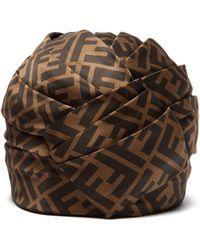 Fendi - Ff Silk Satin Turban Hat - Lyst 11fc0e0396f