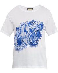 Gucci - Tiger Print Cotton T-shirt - Lyst