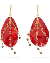 Marni | Crystal-embellished Leaf Earrings | Lyst