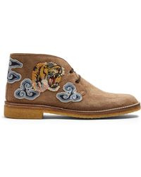 Gucci - New Moreau Embroidered Suede Desert Boots - Lyst