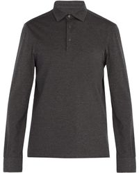 Ermenegildo Zegna - Long Sleeved Wool And Cotton Blend Polo Shirt - Lyst