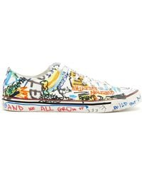 Vetements - Graffiti-print Low-top Leather Trainers - Lyst
