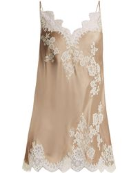 Carine Gilson - Lace Trimmed Silk Satin Cami Dress - Lyst