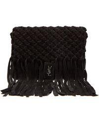 Saint Laurent - Tasseled Woven-suede Clutch Bag - Lyst