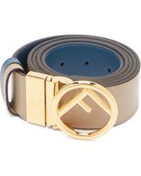 Fendi - Logo Embellished Reversible Leather Belt - Lyst