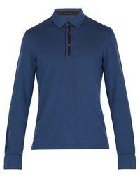Ermenegildo Zegna - Suede-trimmed Long-sleeve Polo Shirt - Lyst