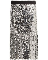 Dolce & Gabbana - Paillette Embellished Midi Skirt - Lyst
