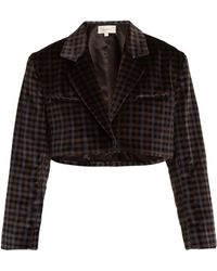 Isa Arfen - Tartan Checked Cotton Velvet Cropped Jacket - Lyst