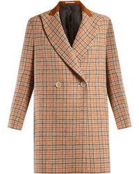 Golden Goose Deluxe Brand - Vanda Double Breasted Checked Wool Coat - Lyst