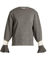 Toga - Flared Cuff Sheer Panel Wool Jumper - Lyst