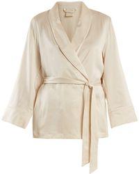 Morpho + Luna - Amelie Sandwashed-silk Short Robe - Lyst