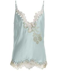 Carine Gilson - V-neck Silk-satin Lace Camisole - Lyst