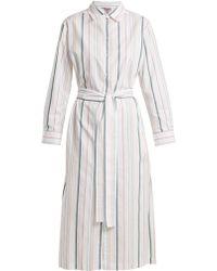 Asceno - Point Collar Striped Cotton Shirtdress - Lyst