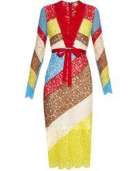 Preen By Thornton Bregazzi - - Anoushka V Neck Lace Dress - Womens - Multi - Lyst