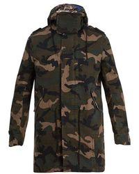 Valentino - Camouflage-print Hooded Gabardine Parka - Lyst