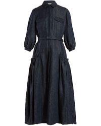 1926b8c79e1 Lyst - Gabriela Hearst Striped Linen Denim Georgia Dress in Blue