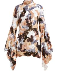 Ashish - Camouflage Sequinned Flared Sleeve Mini Dress - Lyst