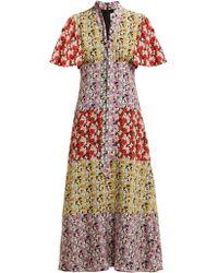Valentino - Floral Silk Midi Dress - Lyst