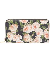 Dolce & Gabbana - Rose Print Continental Dauphine Leather Wallet - Lyst
