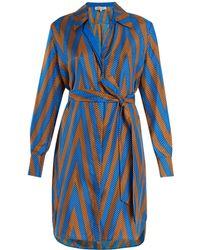 Diane von Furstenberg - Odeon Chevron-print Silk Satin-twill Shirtdress - Lyst
