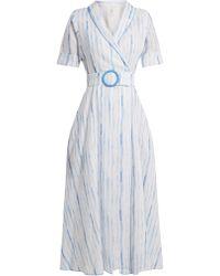 Gül Hürgel - Shawl Collar Striped Linen Dress - Lyst