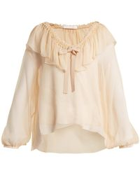 See By Chloé - Ruffle-trimmed Silk Blouse - Lyst