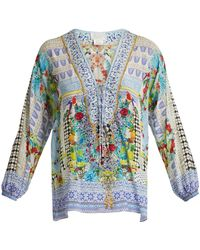 Camilla - Masking Madness-print Lace-up Silk Top - Lyst