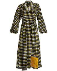 Duro Olowu - Napoli Check-print Puff-sleeved Dress - Lyst