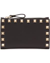 Valentino - Rockstud Leather Card And Coin Purse - Lyst