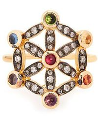 Noor Fares - Diamond, Multi-stone & Yellow-gold Pinky Ring - Lyst