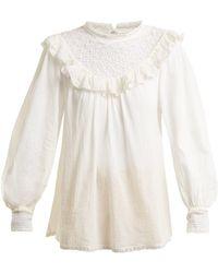 59d26175599aef Zimmermann - Melody Crochet Detailed Cotton Shirt - Lyst