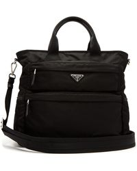 Prada - Double Pocket Nylon Tote - Lyst