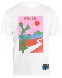 Prada | Cactus-print Cotton T-shirt | Lyst