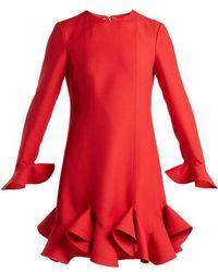 Valentino - Flounced-hem Silk-crepe Dress - Lyst