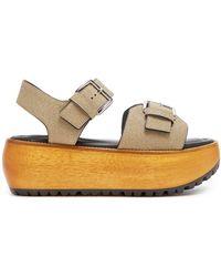 Marni - Glitter-covered Leather Slingback Platform Sandals - Lyst