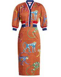 Stella Jean - Monkey-print Cotton-blend Dress - Lyst