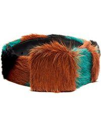 Prada - Tri Colour Striped Calf Hair Belt - Lyst