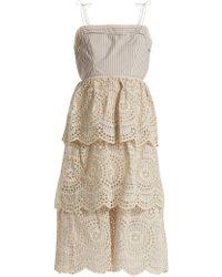 Zimmermann - Meridian Striped Broderie-anglaise Cotton Dress - Lyst