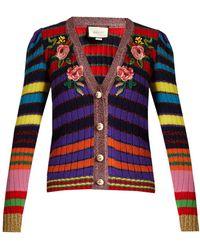 Gucci - Floral-appliqué Striped Wool-blend Cardigan - Lyst