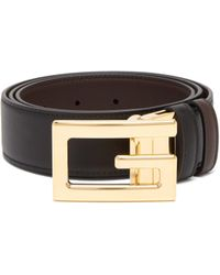 Gucci - Square G Leather Belt - Lyst