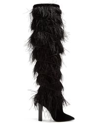 Saint Laurent Yeti Feather Embellished Over The Knee Boots