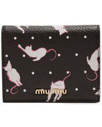 Miu Miu - Cat-print Grained-leather Wallet - Lyst