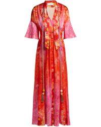 Peter Pilotto - Tassel Trimmed Floral Print Stretch Silk Dress - Lyst