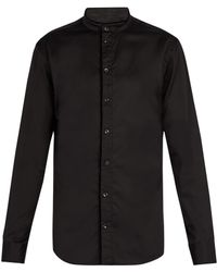 Giorgio Armani - Stand Collar Cotton Shirt - Lyst